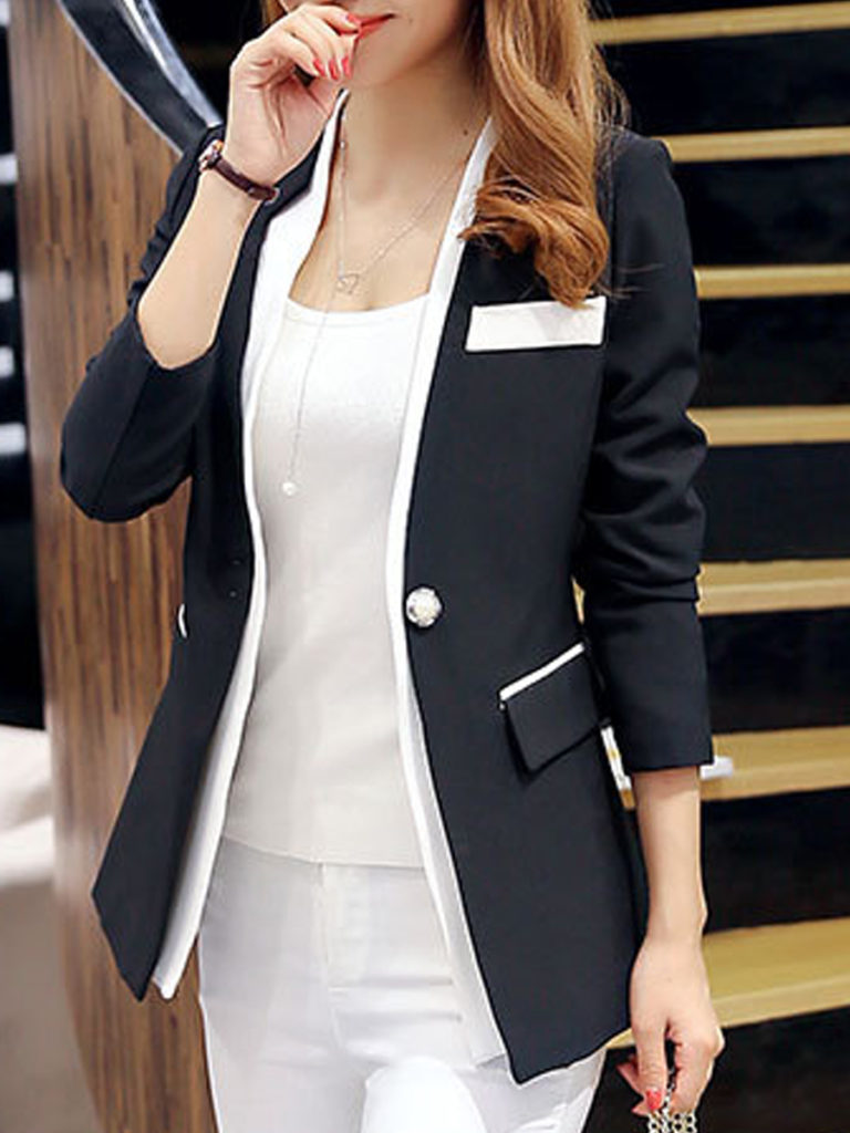 Notch Lapel Color Block Long Sleeve Blazers