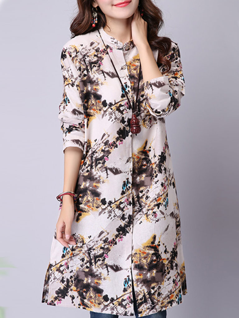 Button Down Collar Loose Fitting Printed Blouses