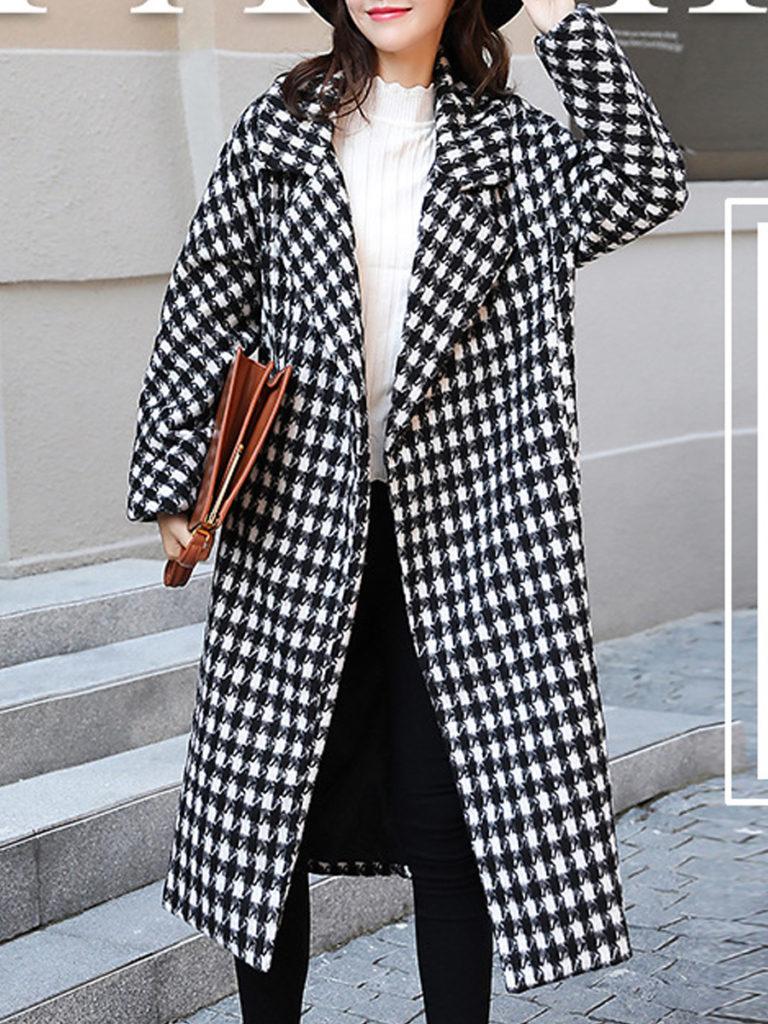 Lapel Houndstooth Long Sleeve Coats