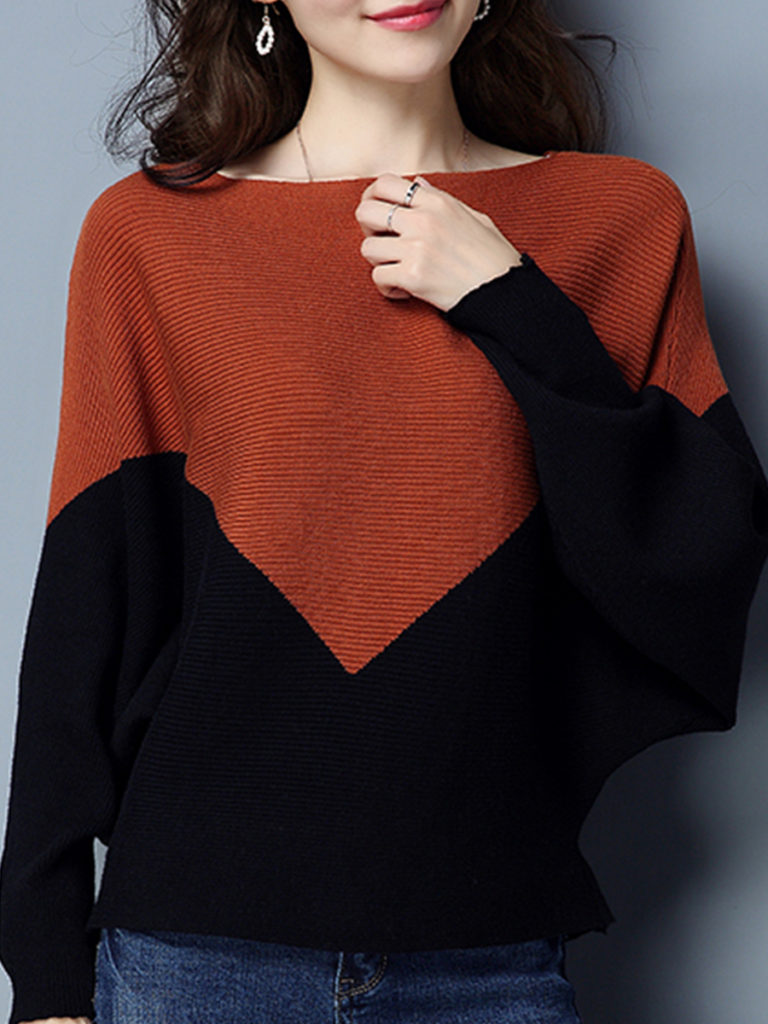 Batwing Sleeve Knit Pullover