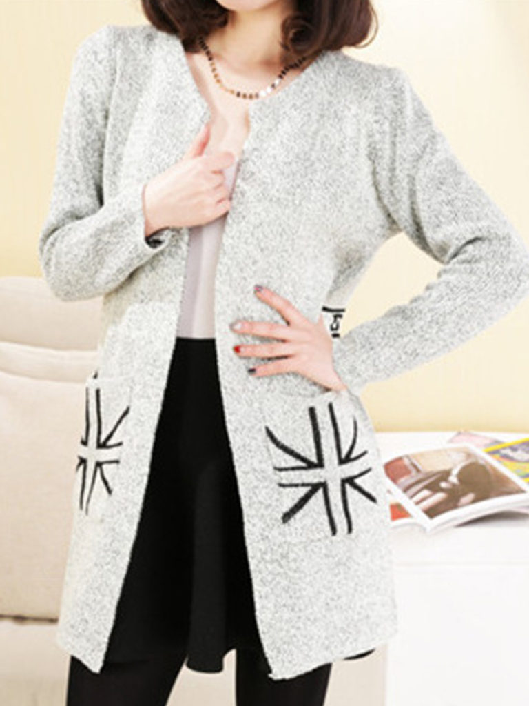 Contrast Piping Plain Long Sleeve Cardigans