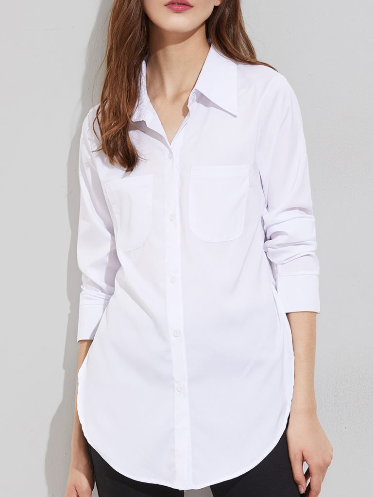 Button Down Collar Plain Blouses