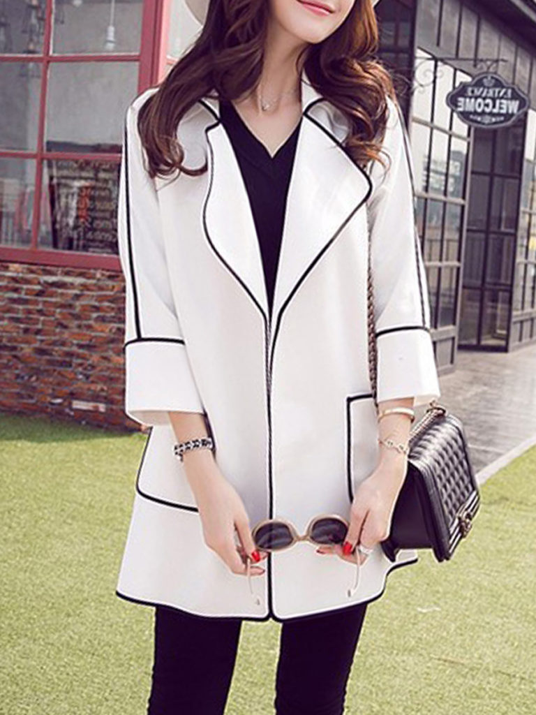 Lapel Contrast Trim Plain Trench Coat