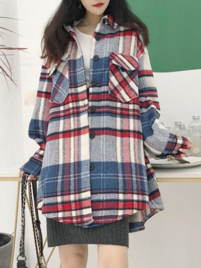 Fold Over Collar Asymmetric Hem Loose Fitting Plaid Coat