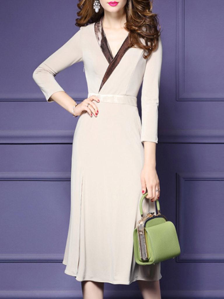 V Neck Patch Pocket Slit Color Block Maxi Dress