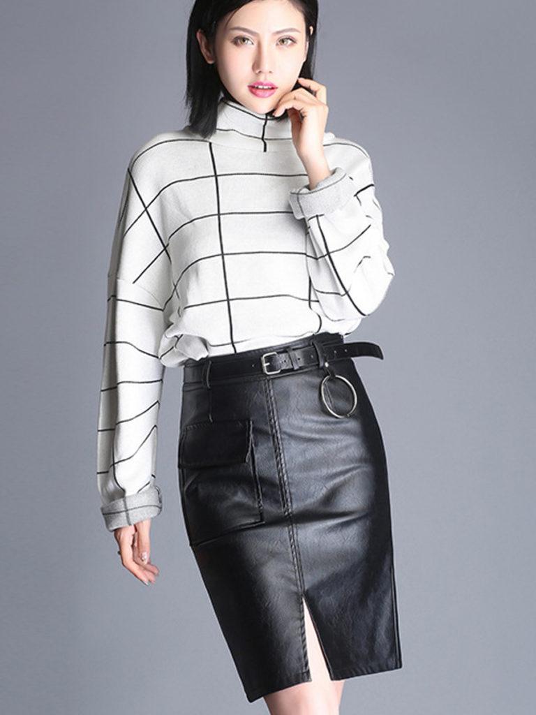 High Quality Slit Water Resistant Belt Plain Straight Knee-Length Skirts