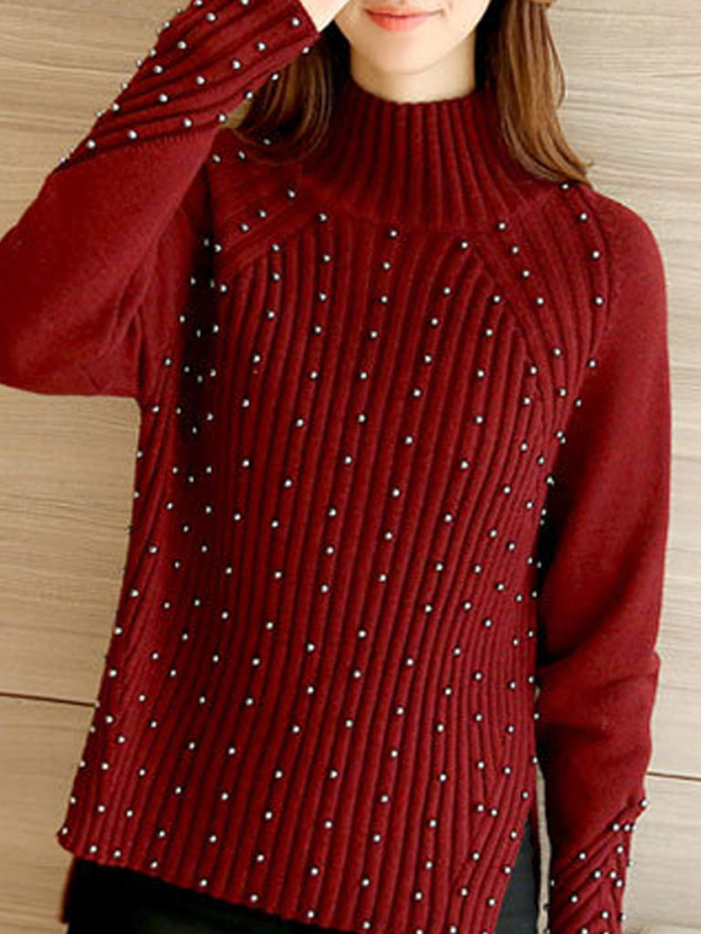 High Neck Beading Striped Long Sleeve Sweaters Pullover