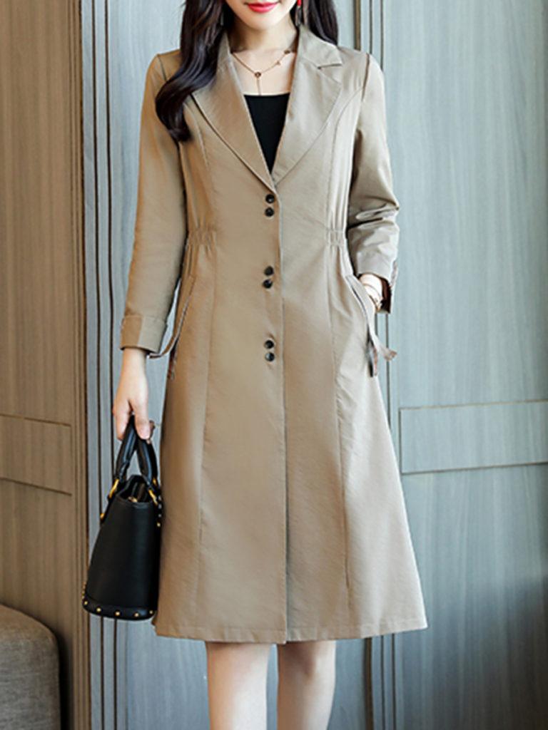Notch Lapel Elastic Waist Plain Cuffed Sleeve Trench Coat