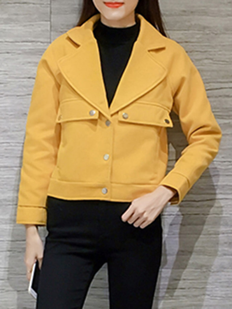 Fold Over Collar Flap Pocket Plain Jacket