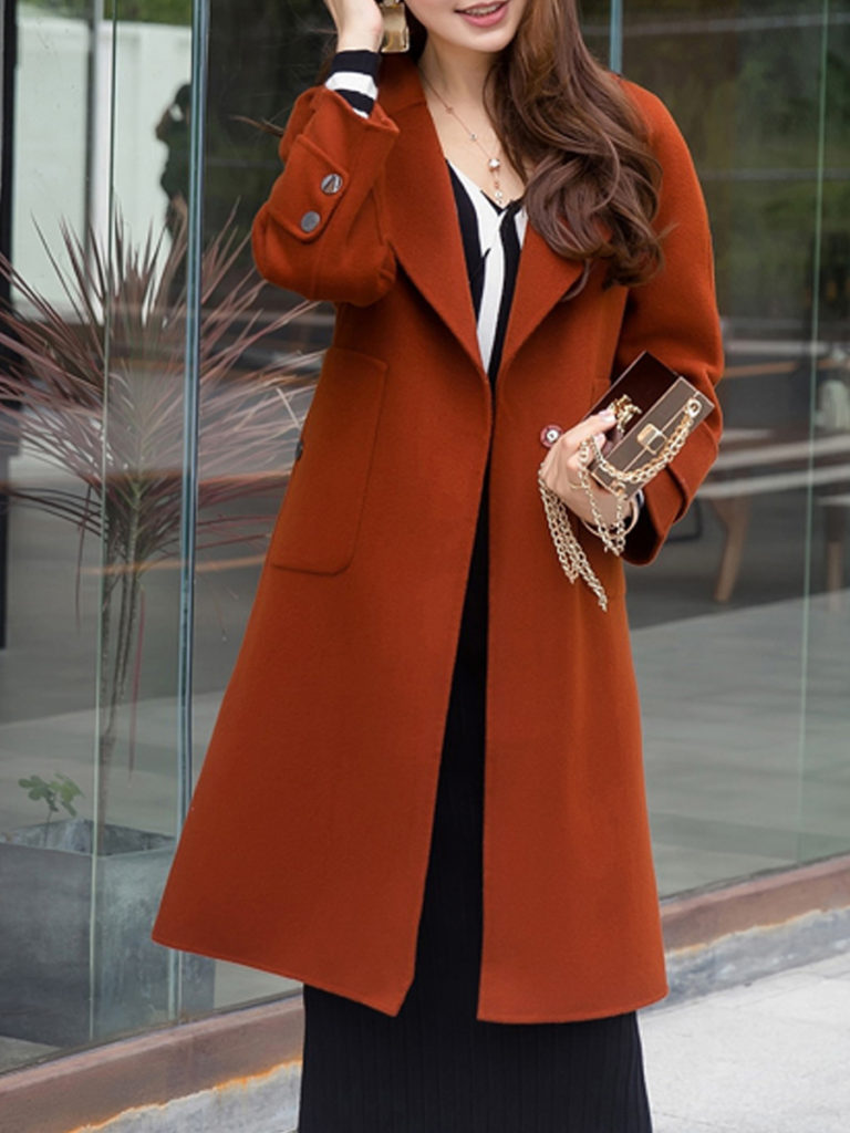 Lapel Belt Decorative Button Plain Long Sleeve Coats