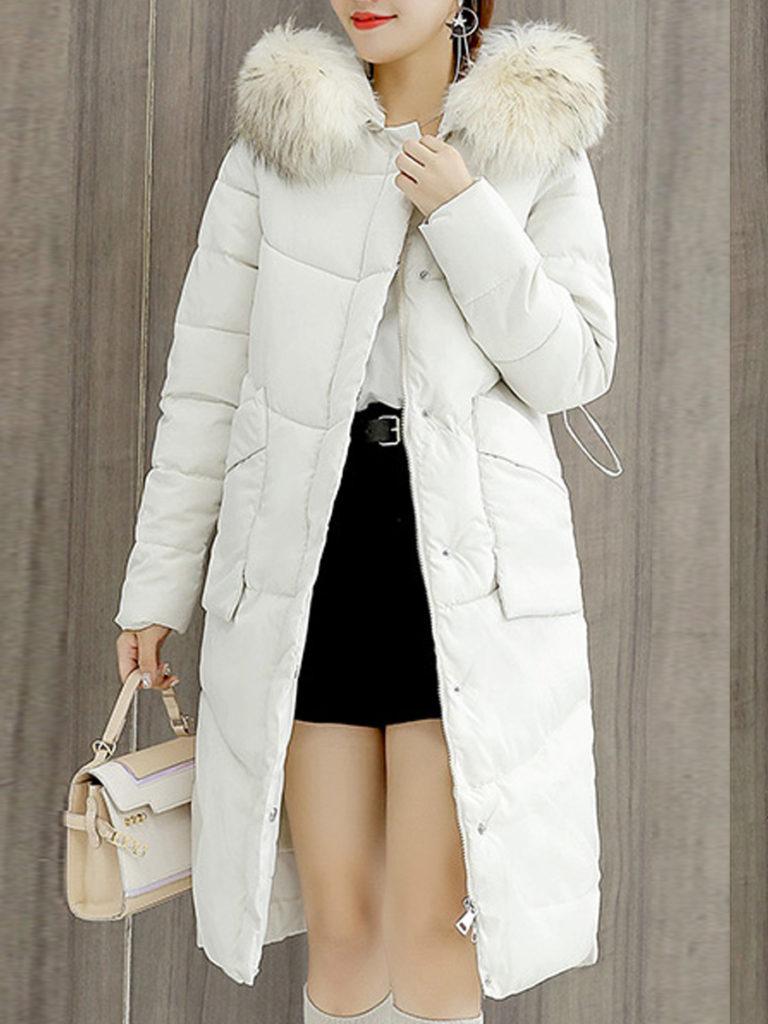Hooded Drawstring Slit Pocket Zips Plain Long Sleeve Coats