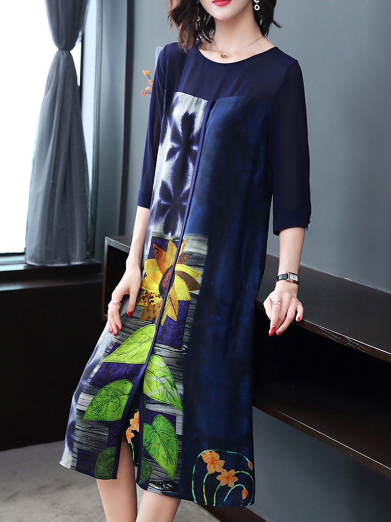 Round Neck Slit Floral Printed Shift Dress