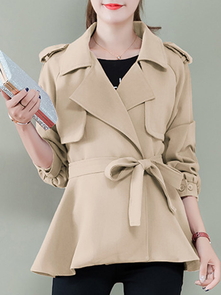 Lapel Belt Decorative Button Plain Raglan Sleeve Long Sleeve Trench Coats