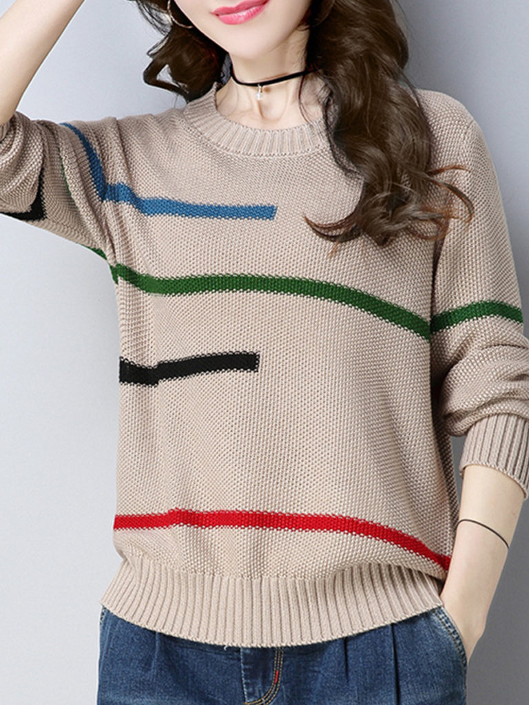 Round Neck Patchwork Stripes Knit Pullover