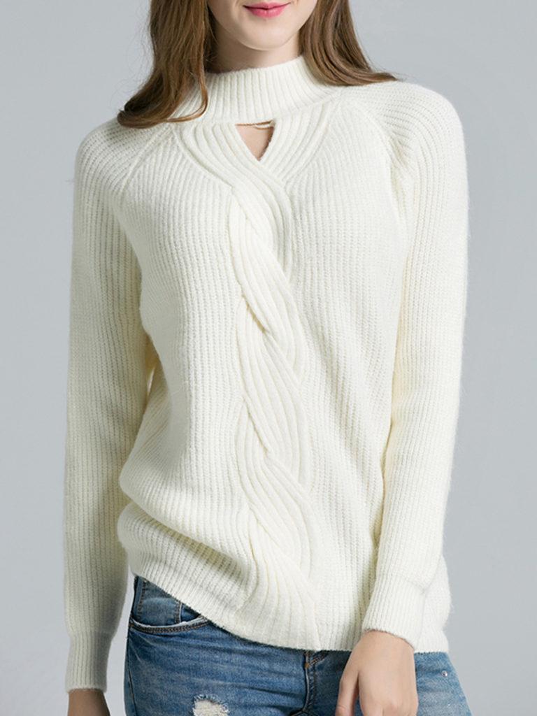 Round Neck Cutout Plain Knit Pullover