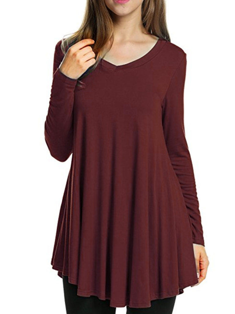 V Neck Asymmetric Hem Loose Fitting Plain Long Sleeve T-Shirts
