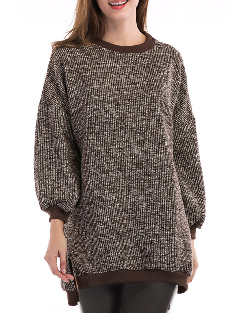 Round Neck Loose Fitting Patchwork Plain Knit Pullover
