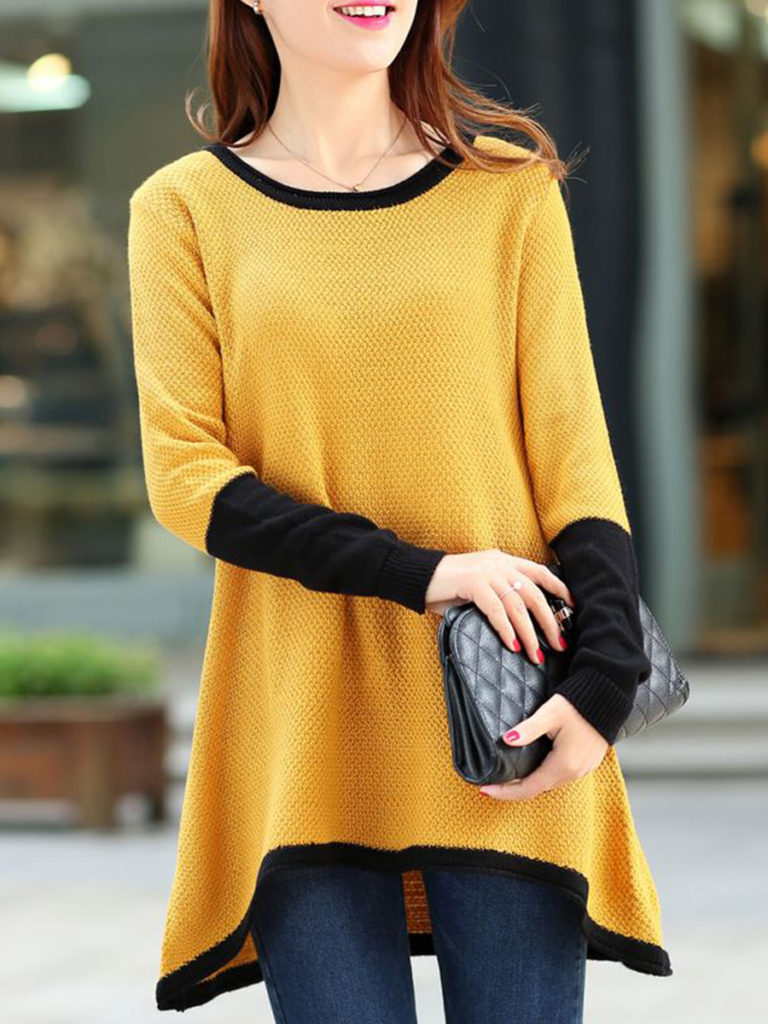 Round Neck Asymmetric Hem Color Block Knit Pullover