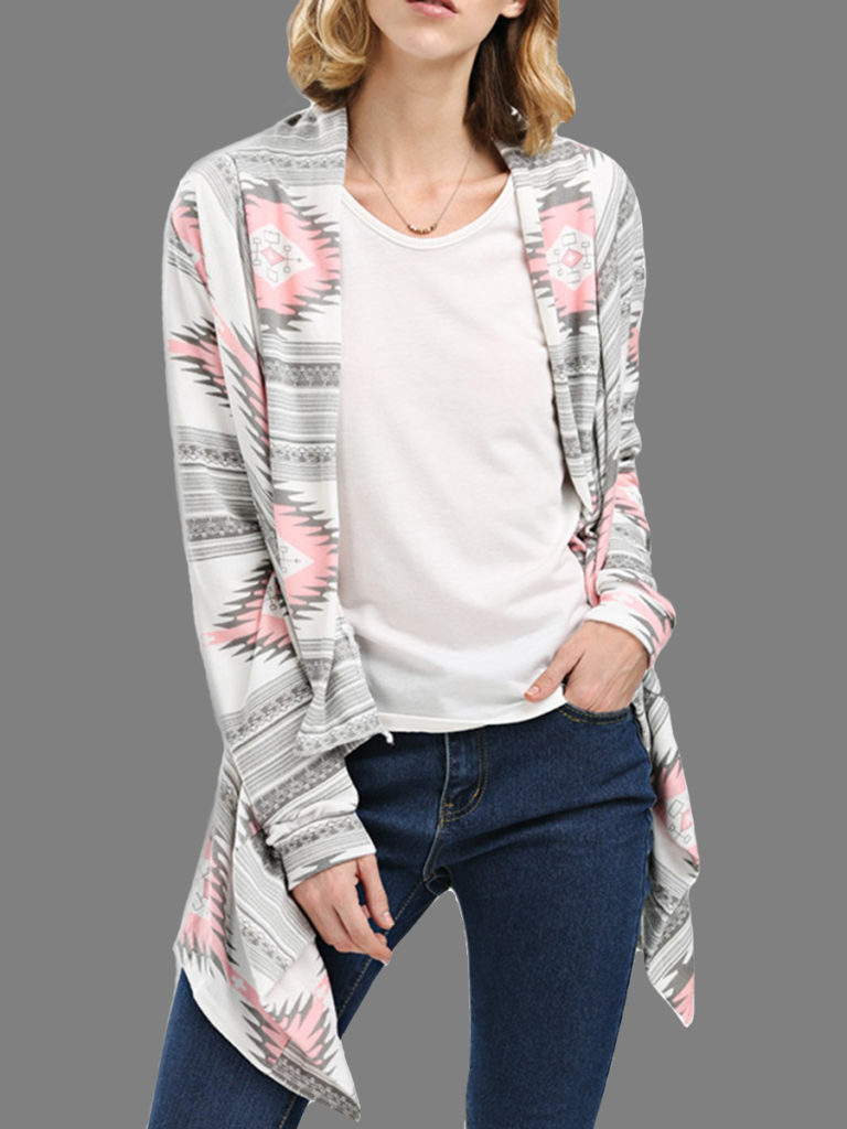 Loose Fitting Abstract Print Knit Cardigans