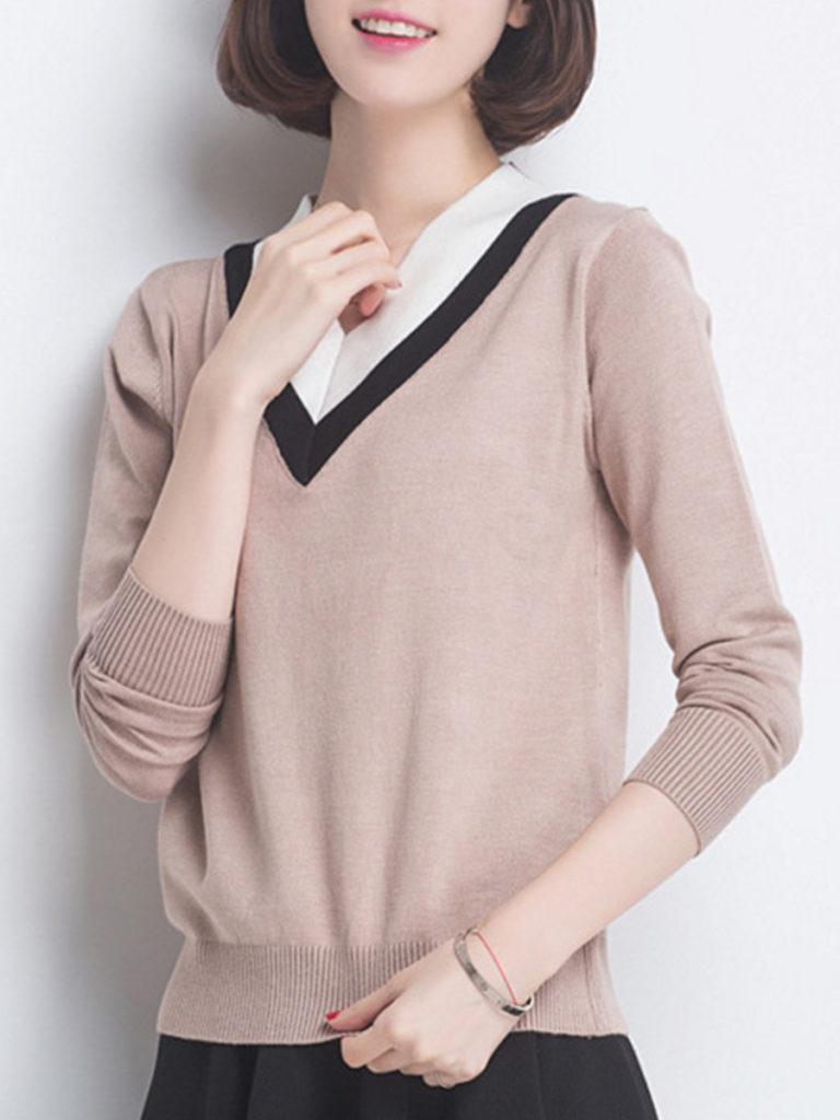 V Neck Stripes Knit Pullover