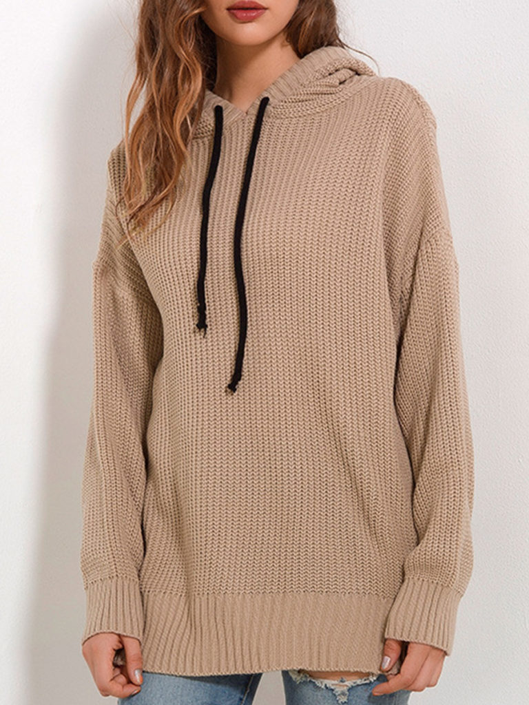 Hooded Drawstring Plain Knit Pullover