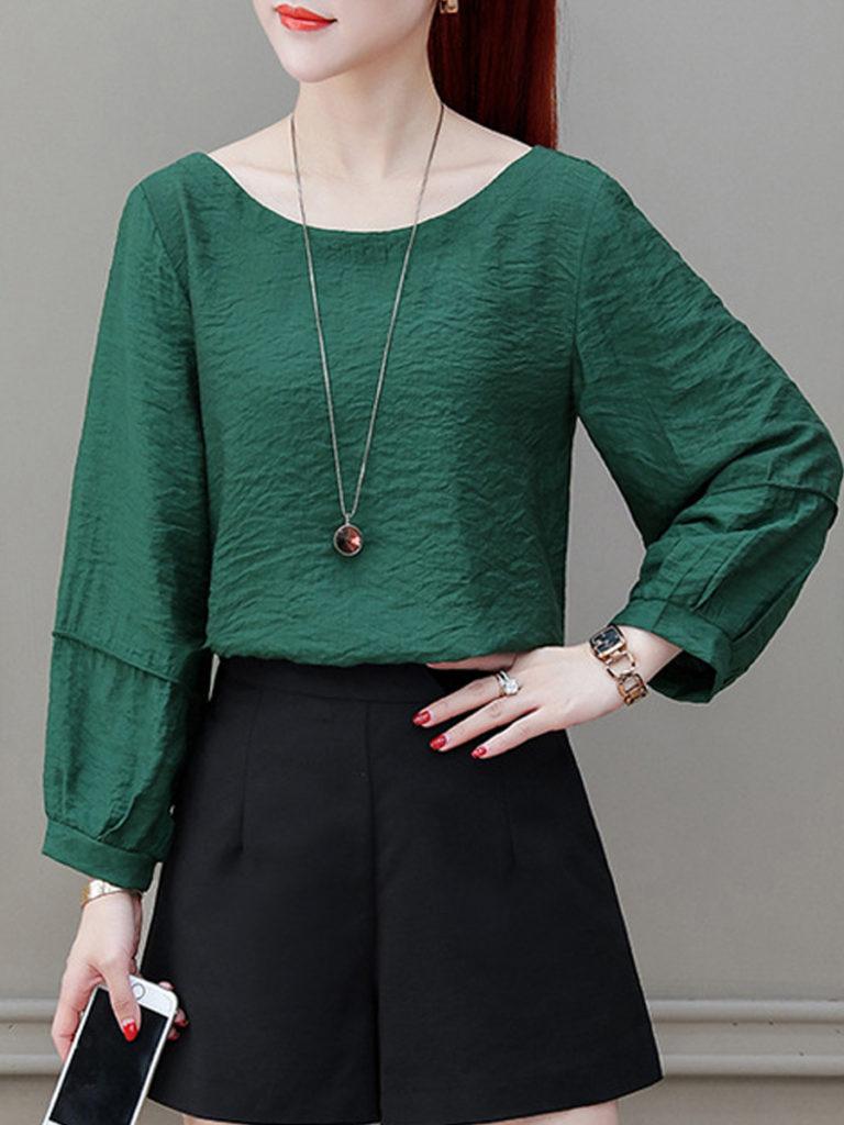 Autumn Spring Women Plain Long Sleeve Blouses