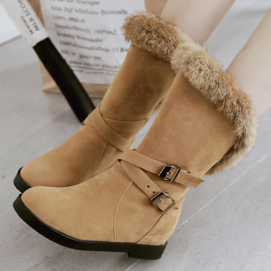 Plain Flat Velvet Round Toe Casual Date Mid Calf Flat Boots