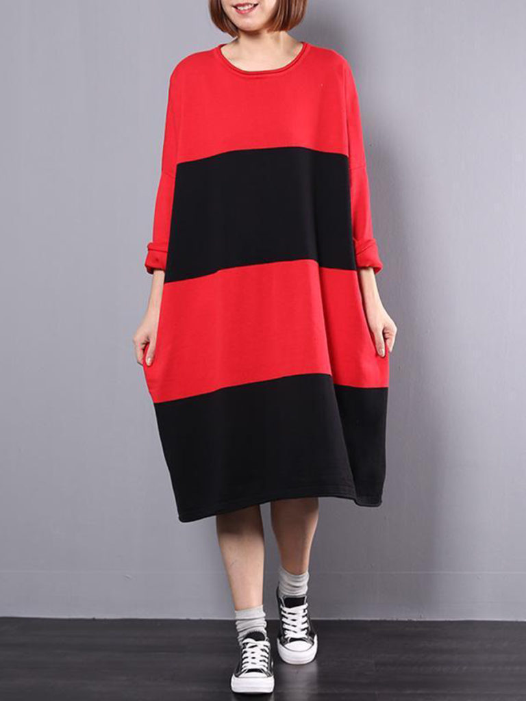 Oversized Casual Round Neck Color Block Maxi Dress