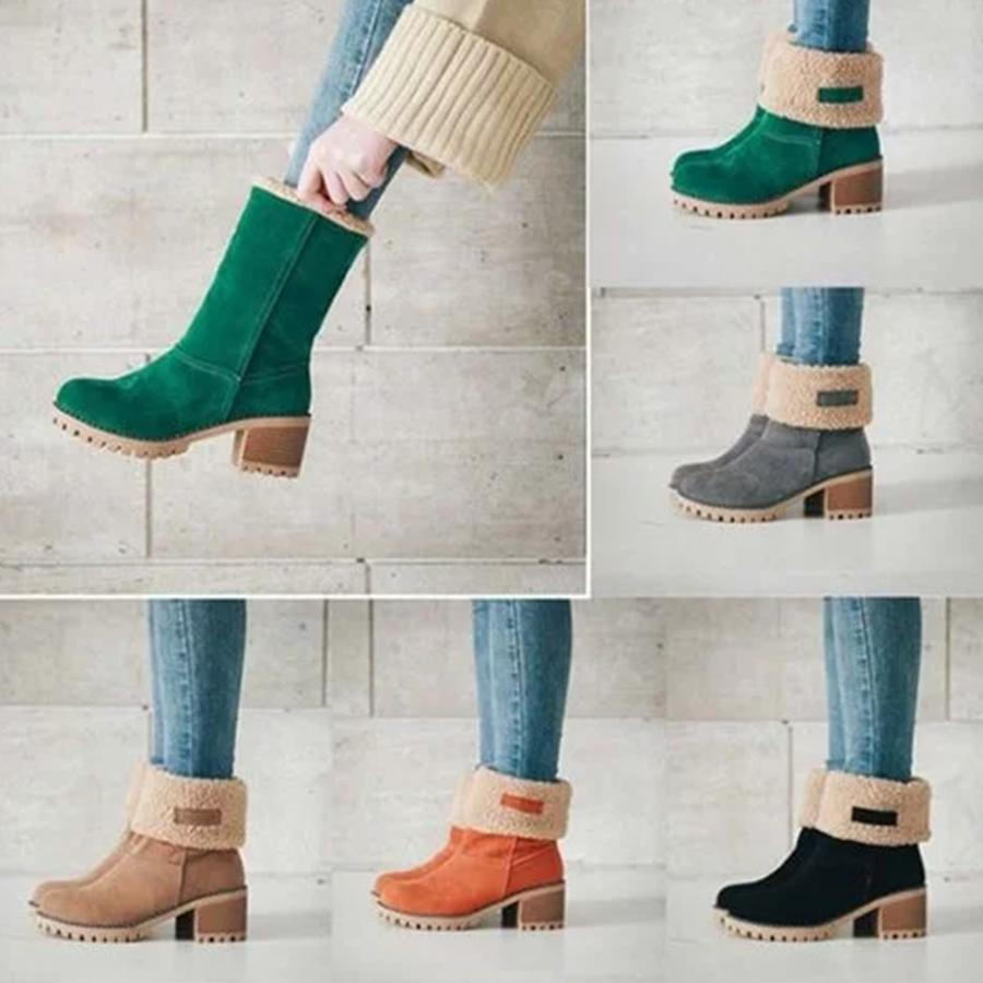 Plain Mid Heeled Velvet Round Toe Casual Mid Calf High Heels Boots
