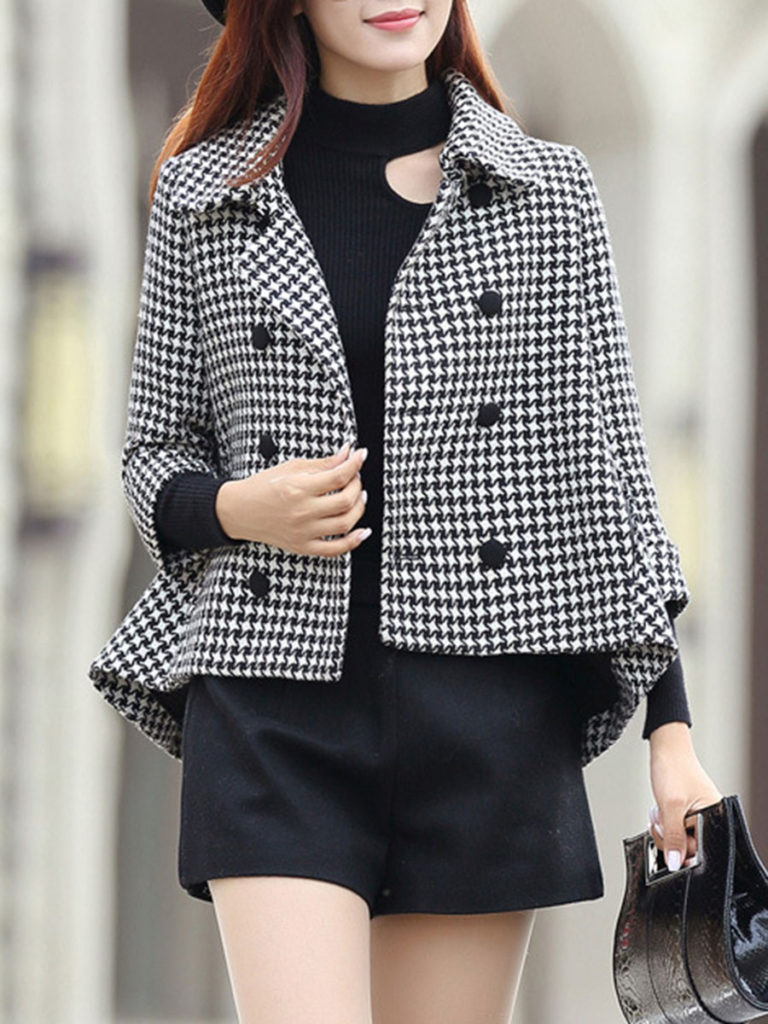 Fold Over Collar Asymmetric Hem Houndstooth Jacket