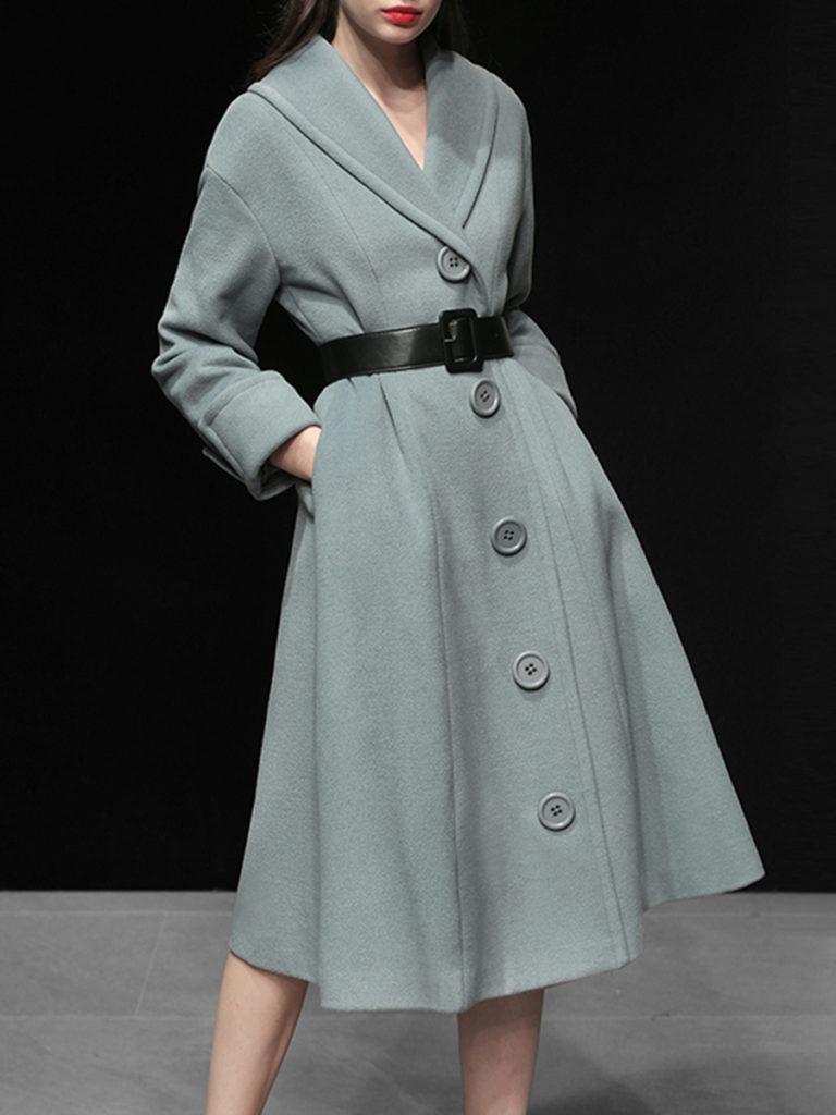Shawl Collar Single Breasted Belt Plain Coat