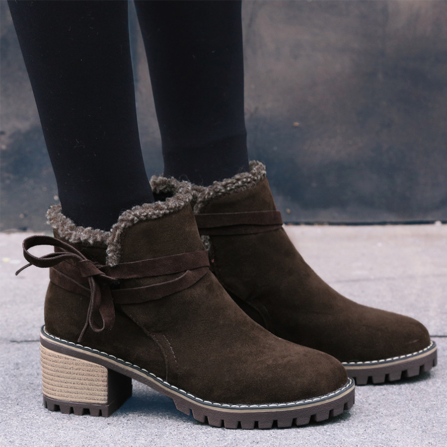 Plain Chunky High Heeled Velvet Ankle Strap Round Toe Date Outdoor Short High Heels Boots