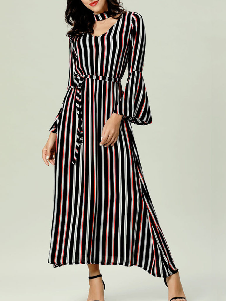 V Neck Striped Bell Sleeve Maxi Dress