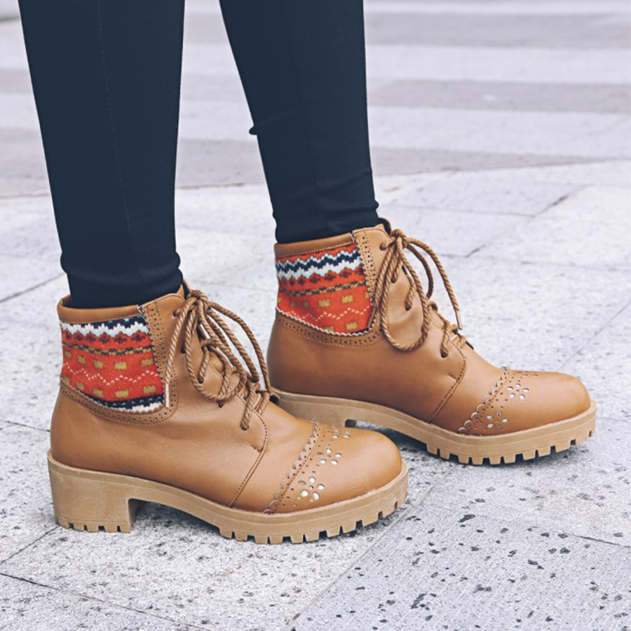 Flat Round Toe Date Outdoor Short High Heels Boots