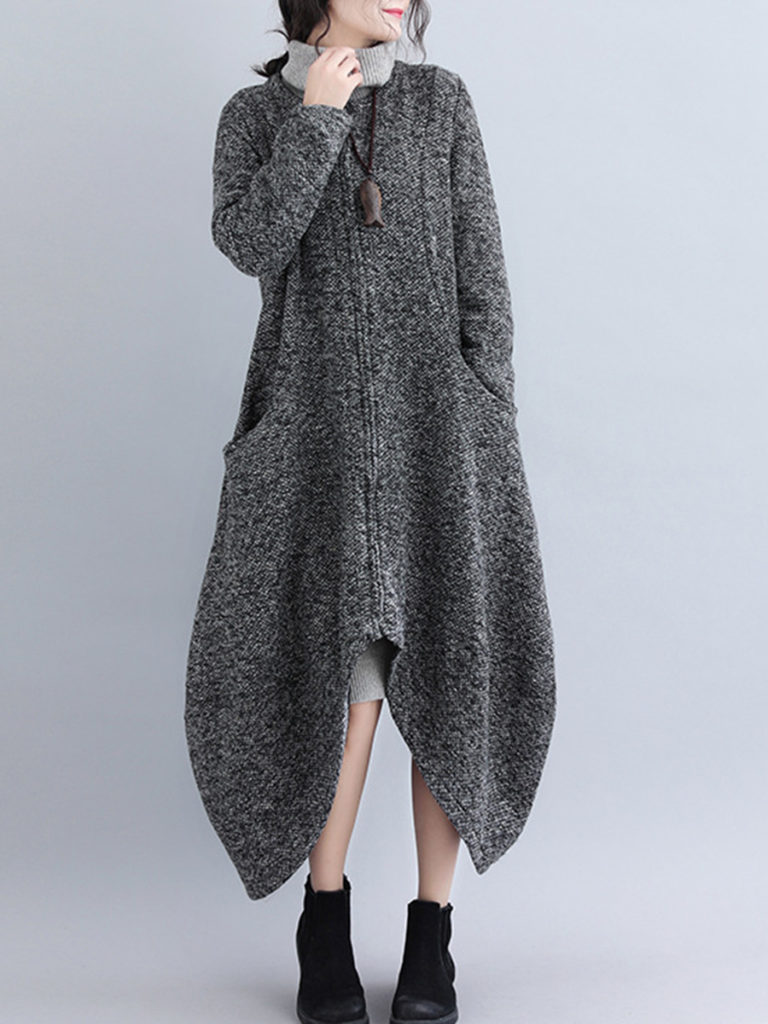 Collarless Asymmetric Hem Assorted Colors Coat