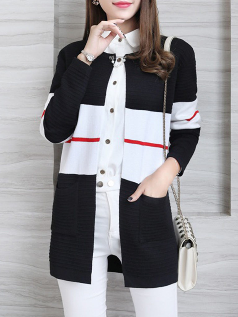 Round Neck Color Block Knit Cardigans