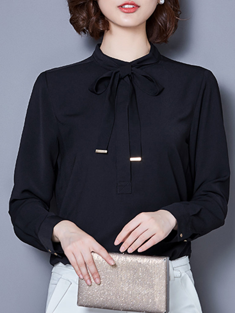 Band Collar Bow Plain Blouses