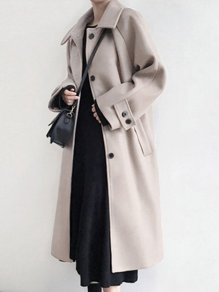 Fold Over Collar Single Breasted Plain Coat
