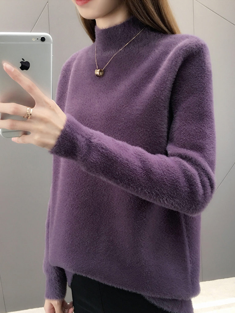 High Neck Loose Fitting Plain Knit Pullover