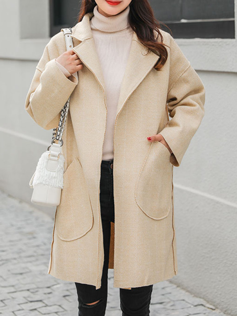 Notch Lapel Patch Pocket Zigzag Striped Coat