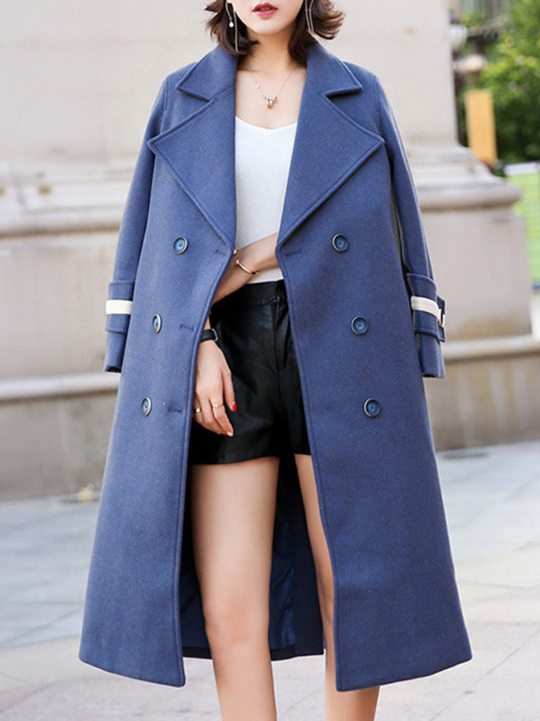 Lapel Double Breasted Slit Decorative Button Plain Long Sleeve Coats