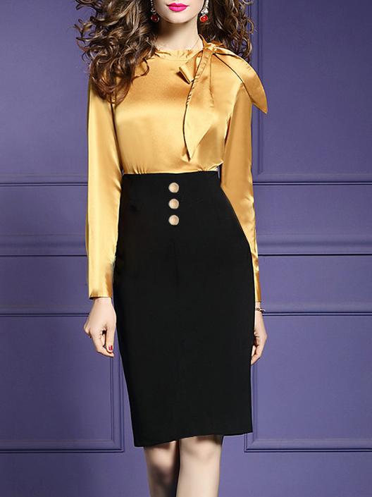 Round Neck Decorative Button Color Block Colouring Bodycon Dress