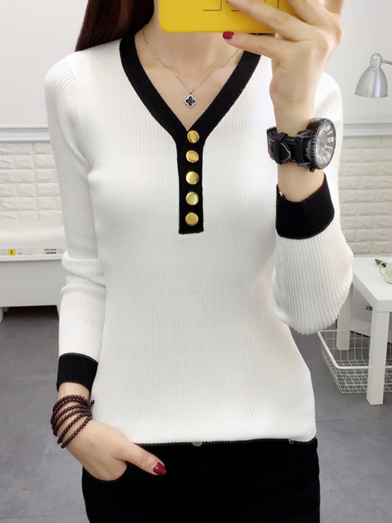 V-Neck Contrast Piping Decorative Button Plain Sweaters Pullover