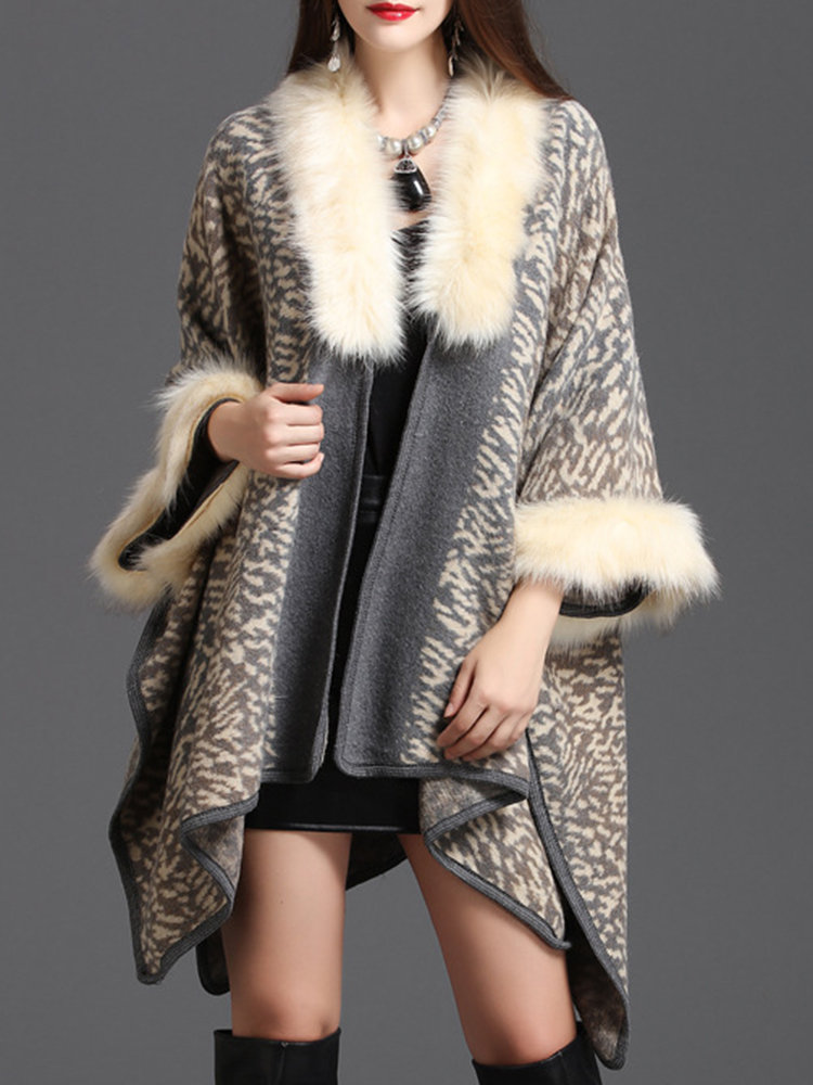 Faux Fur Collar Leopard Cape