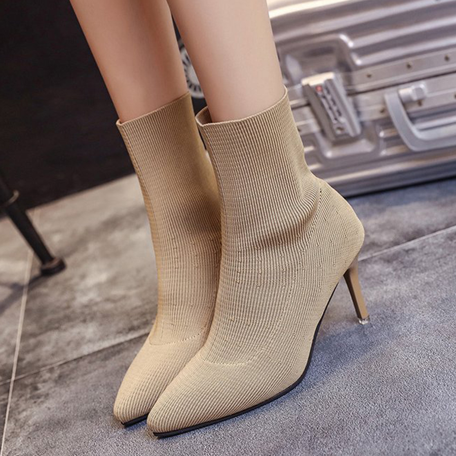 Plain Stiletto High Heeled Point Toe Date Outdoor Short High Heels Boots