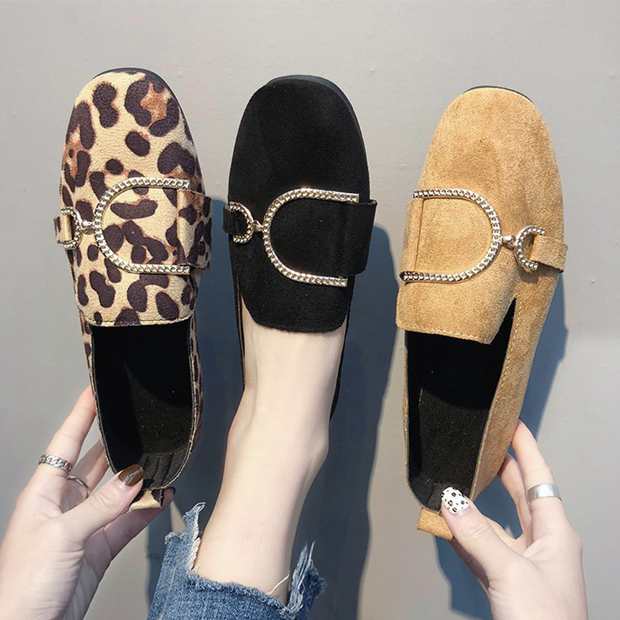 Animal Printed Plain Flat Velvet Round Toe Casual Date Comfort Flats