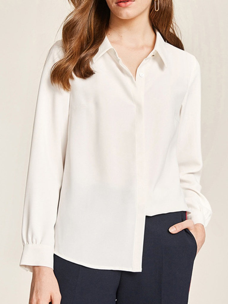 Turn Down Collar Metal Buttons Plain Blouses