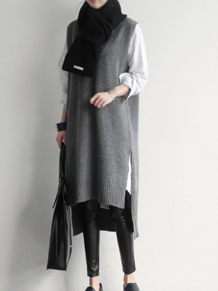 Fashion Simple Loose Sleeveless Knitted Dress