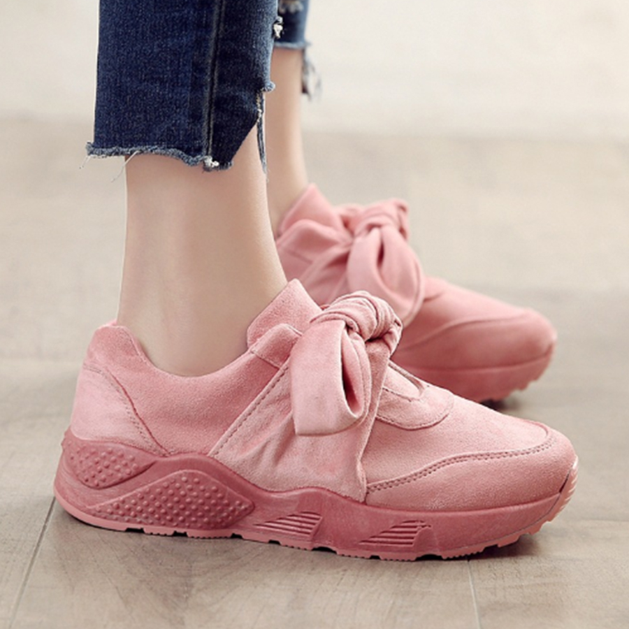 Plain Flat Velvet Round Toe Date Outdoor Sneakers