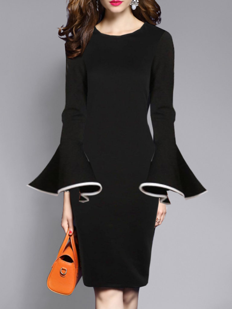 Round Neck Bell Sleeve Bodycon Dress